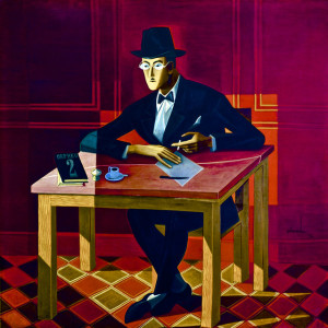 Painting of a man in a suit and hat seated at a table, writing, against a vivid red wall