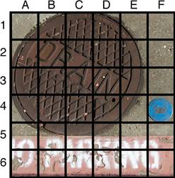 A picture of a manhole that says Drain and a small blue object. The picture has a grid overlaying it, with the columns labeled at the top A through F. On the left, each row is labeled with 1 through 6. The small blue object is in square 4F.