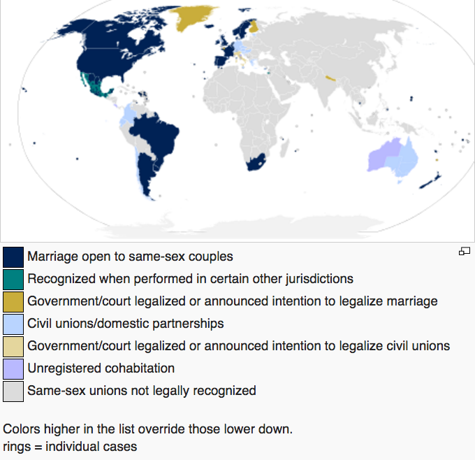 Map of where same-sex marriage is legalized. Countries include Argentina, Belgium, Canada, Iceland, Norway, Portugal, Sweden, South Africa, Spain, Canada, the Netherlands, and others.