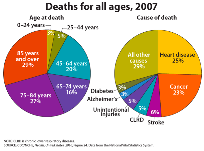 Deaths for all ages in 2007, showing that 29% of all death were for people over the age of 85, 27% were between 75-84, 16% between 65-74, 20% between 45-64, 5% between 25-44, and 3% under 24.