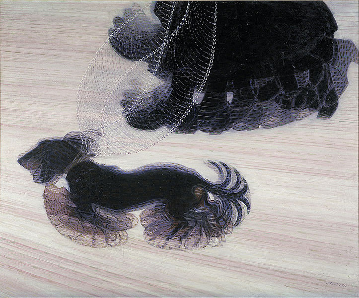 A person walking a dog. To show the dynamism, the dogs feet, head, and tail, as well as the person's feet, have been depicted multiple times.