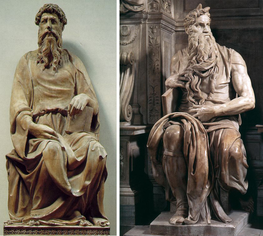 A two-part image. Part a is Donatello's St. John. This sculpture of Saint John doesn't have the sense of life that Moses does. John is looking at some distance scene, just as Moses is, but John's expression appears more serene. John's limbs appear to be at rest, while Moses has a kind of tension throughout his body. Part b is a photograph of Moses, showing the sculpture from head to toe. The detail in incredible; Moses's beard is long and curled over his hands. Moses is also sculpted with two horns coming from the crown of his head.