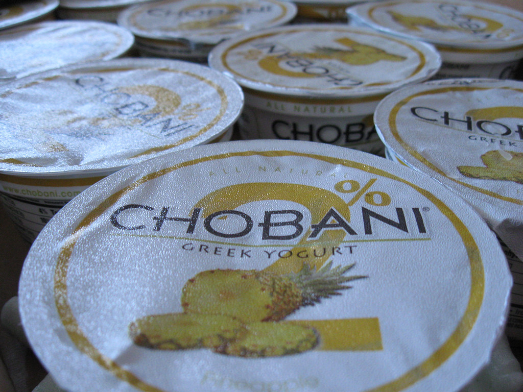 Photo of Chobani-brand Greek yogurt containers.