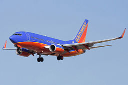 Southwest Airlines plane in flight.