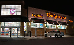 Photo of Walgreens store exterior at night