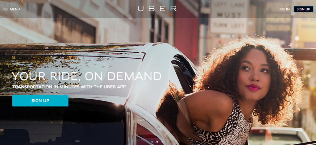 A screenshot of Uber's website. It features a large photo of a woman stepping out of a car and the words Your ride, on demand. Transportation in minutes with the Uber app.