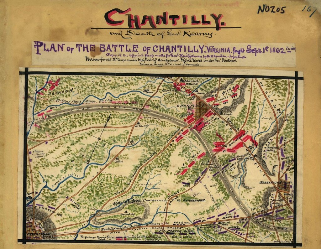 Photo of hand-drawn map, colored in black, red, blue and green, labeled Chantilly, mounted on archival paper.