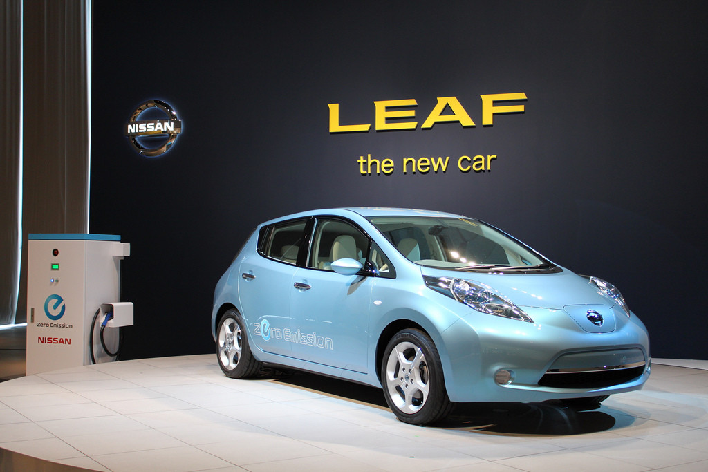 Showroom photo of the Nissan Leaf.