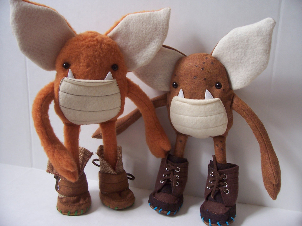 "Photo of two hand-made felt goblins called ""Weeglins"" from the craft site Etsy.com"