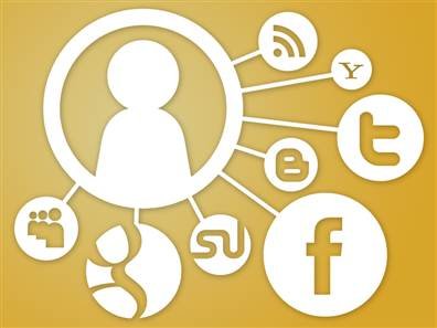 Graphic representing tech privacy. Silhouette of a person on the right. Surrounding the person are various logos for online sites and activities (e.g., Facebook, Twitter, Google).