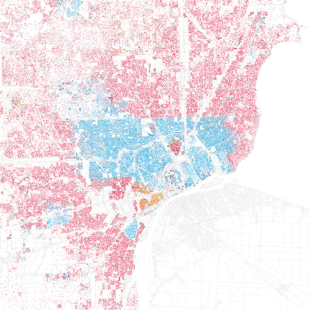 Map of race and ethnicity in Detroit. Red is Caucasian, blue is Black, green is Asian, orange is Hispanic, gray is Other, and each dot is 25 people. Data from Census 2000.