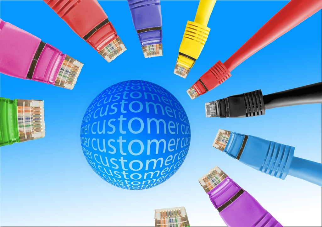 Graphic showing a circle in the center with the word CUSTOMER repeated across it; the circle is surrounding by nine computer cables aimed at it.