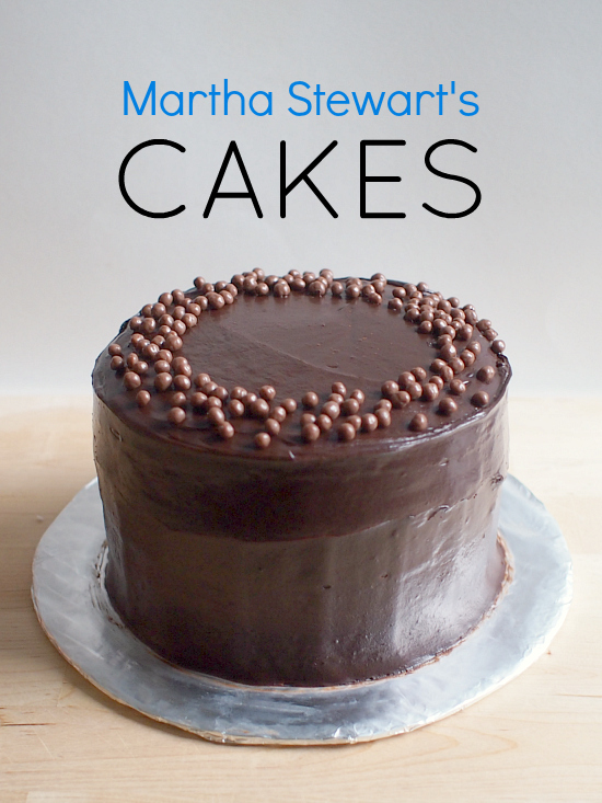 """Photo of an elegant chocolate cake with the words """"Martha Stewart's Cakes"""" printed above it."""
