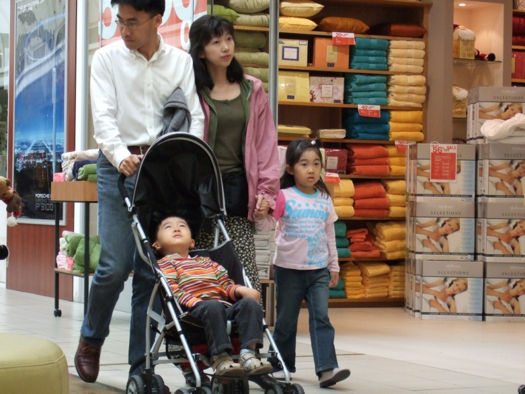 Photo of a family shopping in a household goods store: The father pushes a his young son in the stroller; his wife is next to him, holding the daughter's hand.