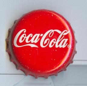 Bottle cap showing the Coca-Cola logo