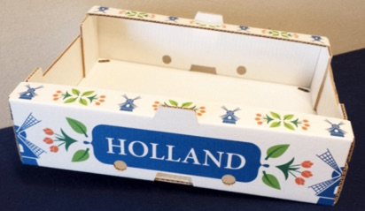 A box decorated with flowers and windmills.