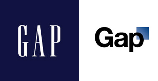 On the left is the old (and current) Gap logo, the word GAP written in all caps in a white serif font enclosed in a navy blue square. On the right, the failed logo. It has the word Gap in a black sans serif font, with the A and P in lowercase. A small blue box is partly behind the P.