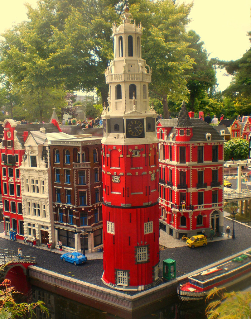 A city block with tall buildings made of legos.
