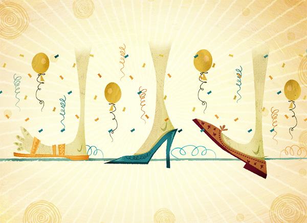 Sketch showing three different feet, each with a different shoe, in a line. Balloons and confetti are in between. Drawing was made as a preliminary sketch for a Zappos TV commercial.