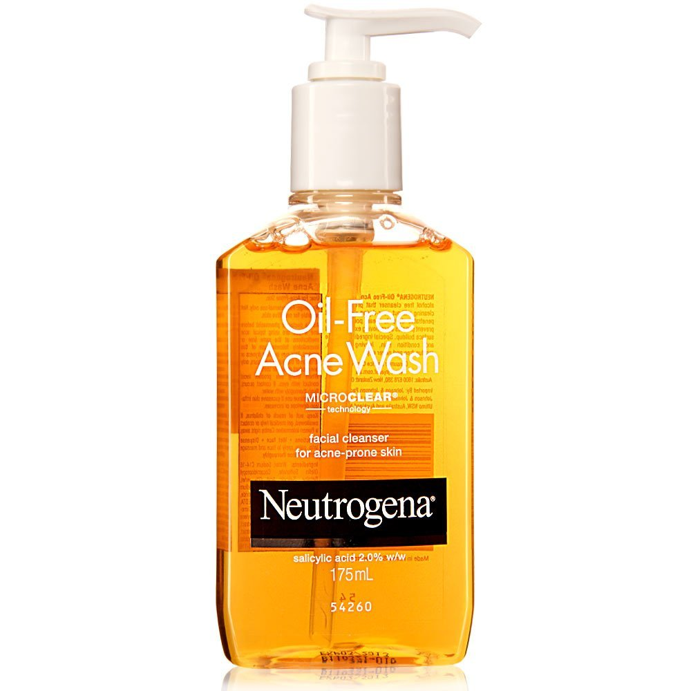 "Photo of a bottle of Neutrogena ""Oil-Free Acne Wash."""