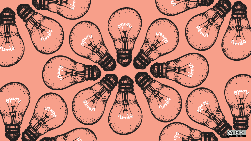 Black ink drawings of clear lightbulbs in a circular pattern. The wires inside the lightbulbs form the word OPEN.