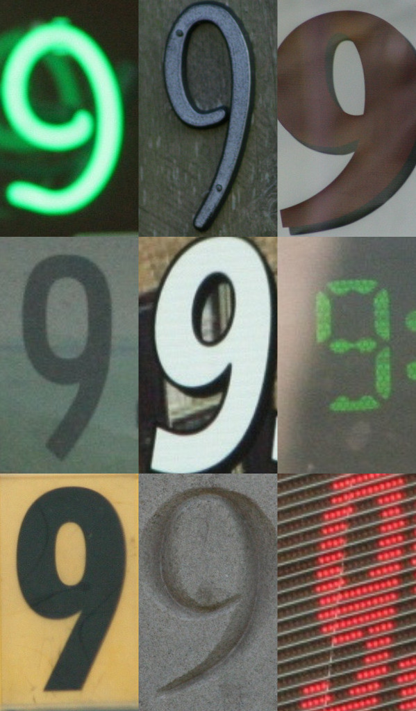 Nine photos of the number nine presented in three rows of three. Each nine is graphically unique.