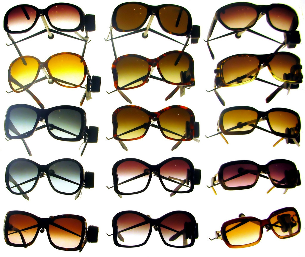 An assortment of large sunglasses.