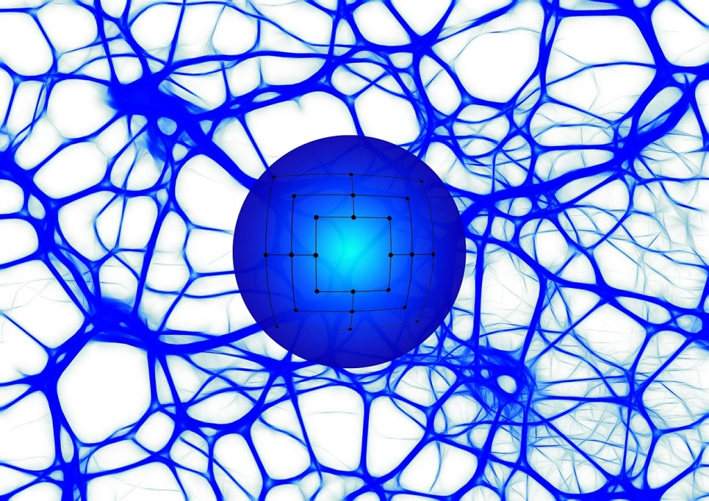 A network of blue lines emerging from a blue sphere.
