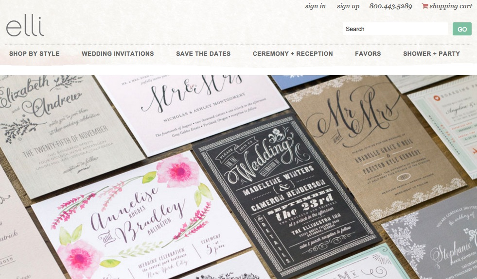 Screenshot of elli's website. It features a large picture of several wedding invitations and save-the-date cards.