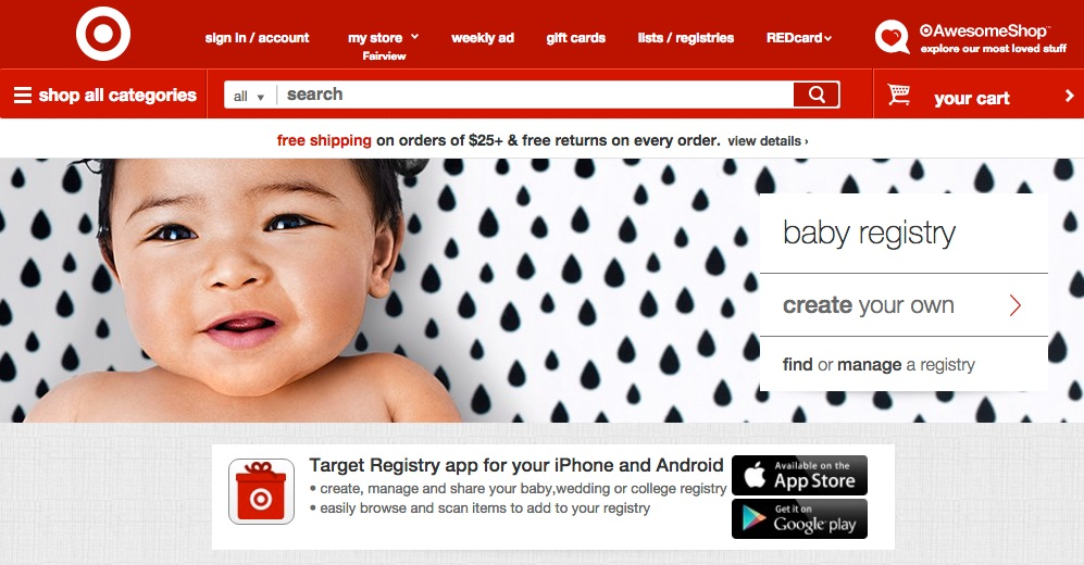 Screenshot of Target's baby registry page. At the bottom of the screen is an offer to download the Target Registry app for iPhone and Android.