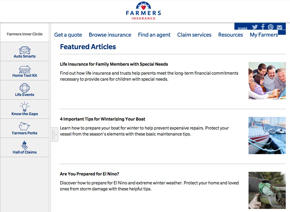 Screenshot of Farmers Insurance website. It has featured articles covering topics such as life insurance for family members with special needs and 4 important tips for winterizing your boat.