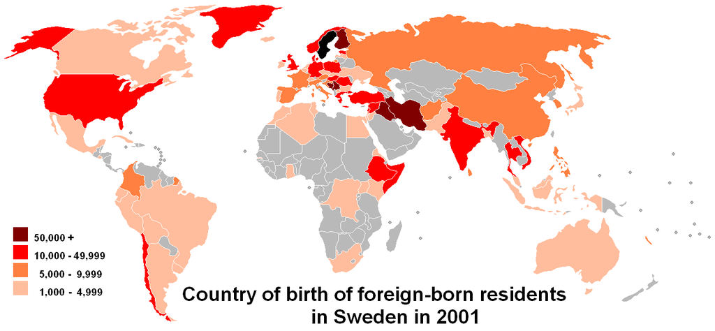 Map of the world showing which countries foreign-born residents in Sweden were born as of 2001. Countries with 50,000 or more include Finland, Syria, Iraq, and Iran. Countries with more than 10,000 include the United States, Chile, India, the United Kingdom, and Somalia. Most countries have at least 1,000, with the exception of most African countries.