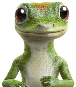A smiling, computer-generated gecko.