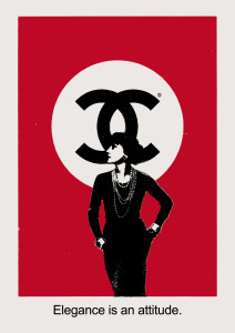 An elegantly dressed woman standing in front of a logo with a C intertwined with a backwards C. The caption says Elegance is an attitude.