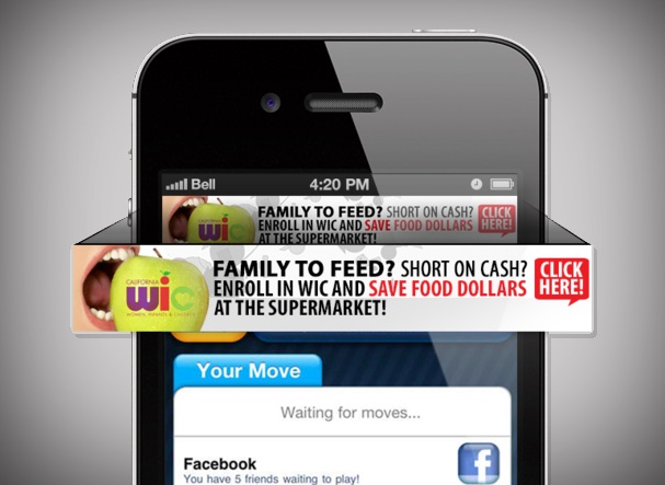 A smartphone screen with a banner ad at the top. The ad appears to be popping out of the screen. It reads Family to Feed? Short on cash? Enroll in WIC and save food dollars at the supermarket! Click here!