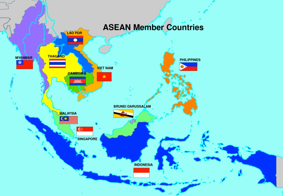 Map of ASEAN Countries. Countries include Lao PDR, Thailand, Myanmar, Vietnam, Cambodia, Philippines, Brunei Darussalam, Malaysia, Singapore, and Indonesia.