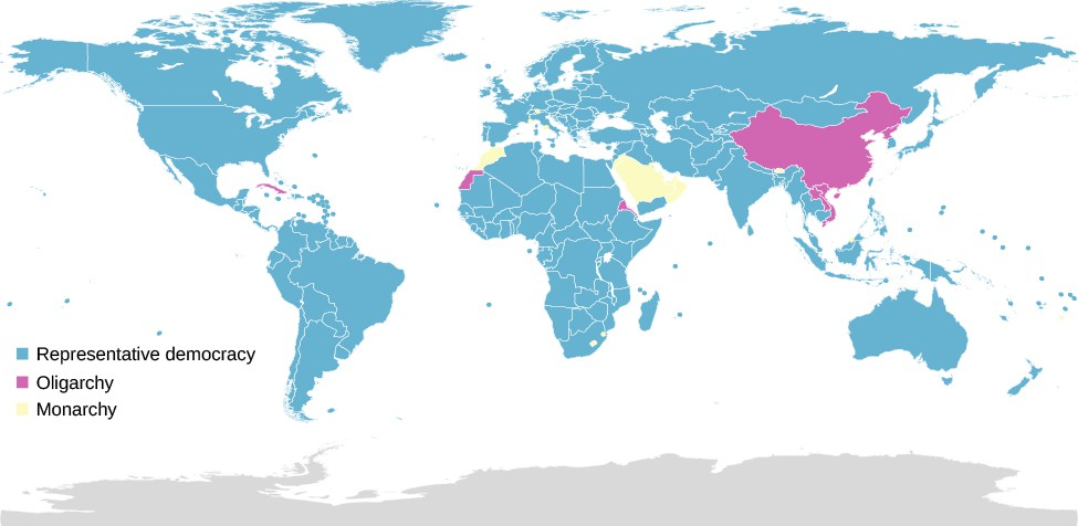 A map of the world labeled to indicate the forms of government in each country. A legend to the left reads