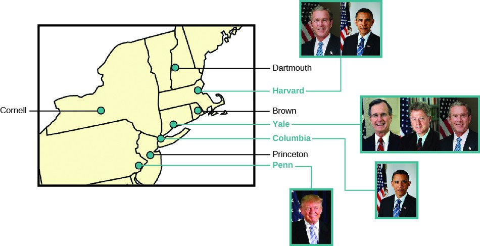 A chart showing an inset of the east coast of the United States with the locations of the seven Ivy League universities labeled: