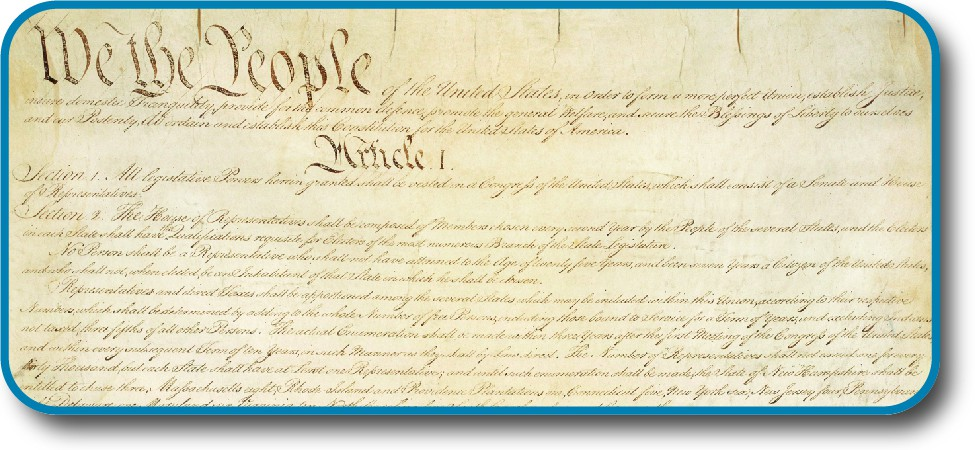 A photo of the U.S. Constitution displays the headings,