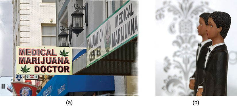 Photo a shows the outside storefront and sign for a medical marijuana doctor. Photo b shows a wedding cake topper with two males in tuxedoes.