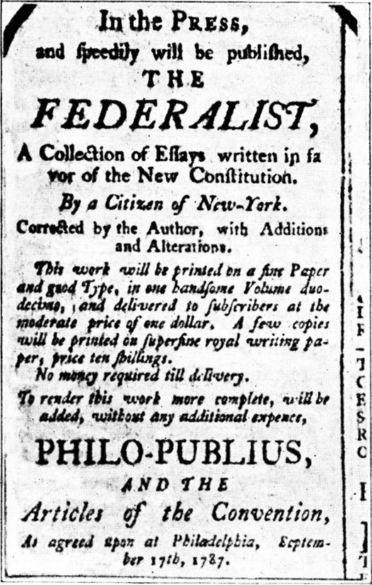 This image shows an advertisement for The Federalist papers.