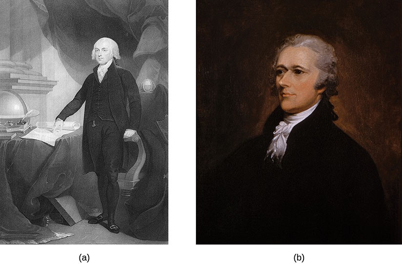 An engraving depicts James Madison. A painting depicts Alexander Hamilton.