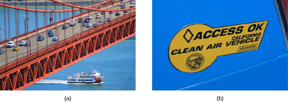 Image A shows the Golden Gate bridge with a moderate amount of traffic. Image B shows a sticker on a car that states