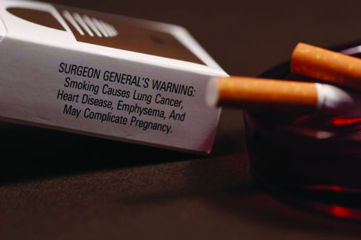 A photo of a cigarette box and two cigarettes. The cigarettes are resting in an ashtray. Text on the cigarette box reads