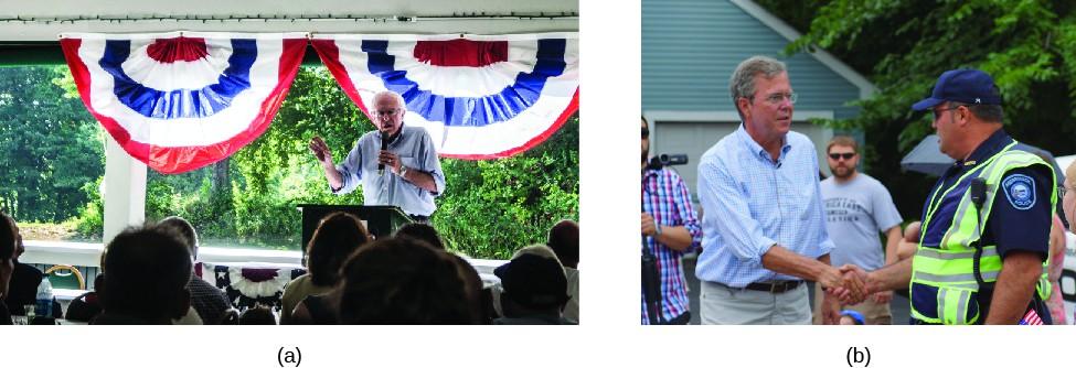 Image A is of Bernie Sanders speaking to a group of seated people. Image B is of John Ellis