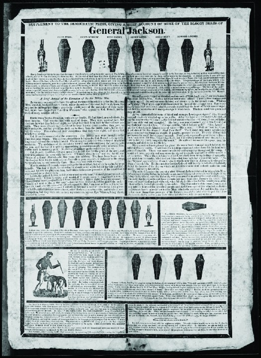 An image of a handbill from the 1828 presidential election. The top reads