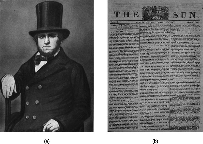 Image A is of Benjamin Day seated. Image B is of a newspaper titled