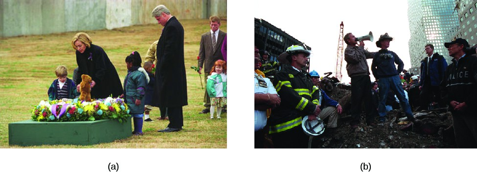 Image A is of Hillary and Bill Clinton laying flowers on a memorial site, surrounded by several children. Image B is of George W. Bush standing on a pile of rubble with a bullhorn to his mouth, surrounded by several people.