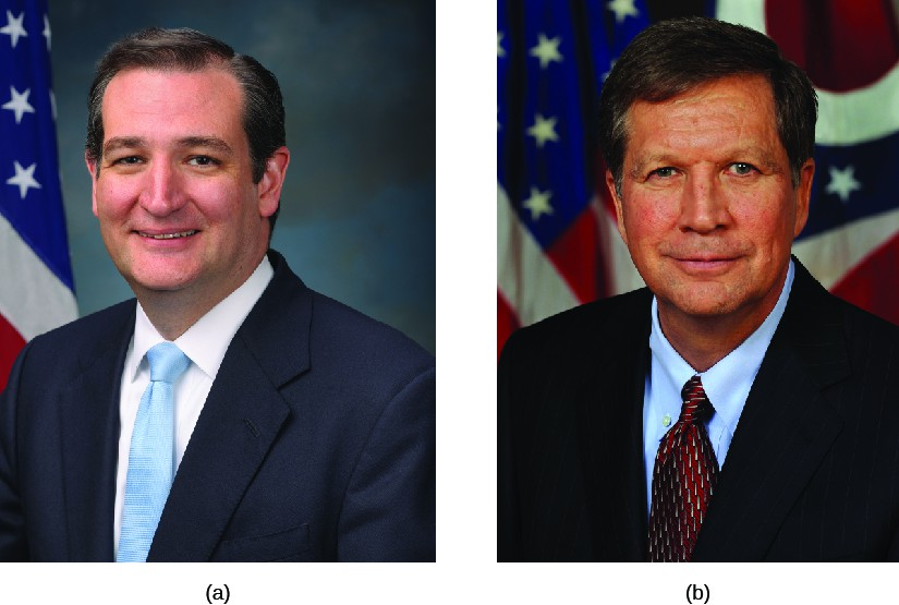 Image A is of Ted Cruz. Image B is of John Kasich.