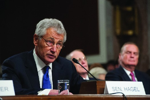 A photo of Chuck Hagel in the Senate.